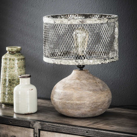 Lampe de table vintage en métal et bois gris Ø 31 cm Arielle