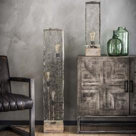 Lampadaire vintage en métal et bois gris Arielle