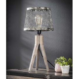 Lampe de table vintage en bois massif et métal gris Fabian