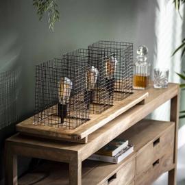 Lampe de table industrielle en bois de mangue et métal Eva