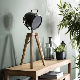Lampe de table moderne en bois de mangue et métal Olivier